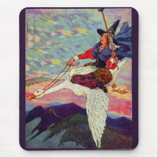 1920s Mother Goose riding her giant goose Mouse Pad