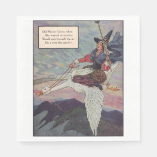 1920s Mother Goose riding her giant goose Napkin