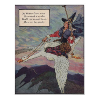 1920s Mother Goose riding her giant goose Poster