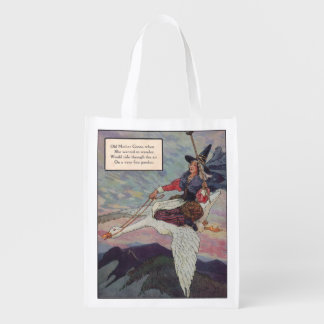 1920s Mother Goose riding her giant goose Reusable Grocery Bags
