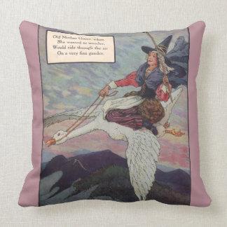 1920s Mother Goose riding her giant goose Throw Pillow