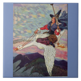 1920s Mother Goose riding her giant goose Tile