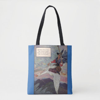 1920s Mother Goose riding her giant goose Tote Bag