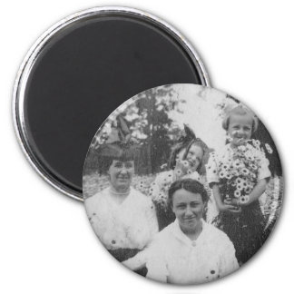1920's Mothers and Daughers in field of flowers 2 Inch Round Magnet