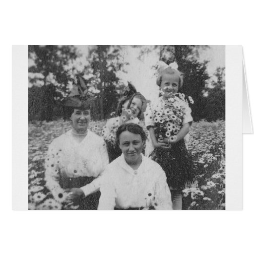 1920's Mothers and Daughers in field of flowers Cards