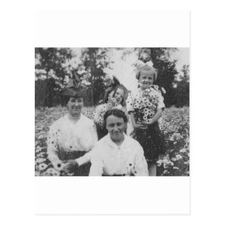 1920's Mothers and Daughers in field of flowers Postcard