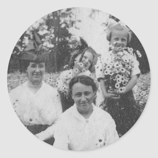 1920's Mothers and Daughers in field of flowers Stickers