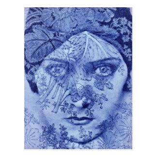 1920s movie star Gloria Swanson in blue Postcard