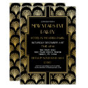 1920's New Years Eve Gatsby Party Black & Gold Fan Invitation