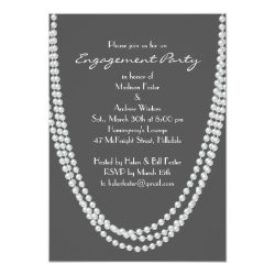 1920's Pearl Engagement Party Invitation - gray