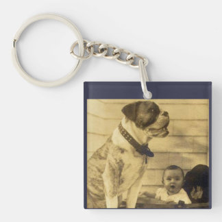 1920s pitbull guards baby Double-Sided square acrylic keychain