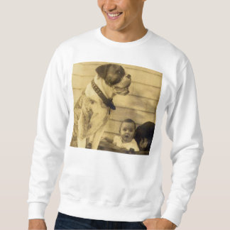 1920s pitbull guards baby front and back pullover sweatshirt