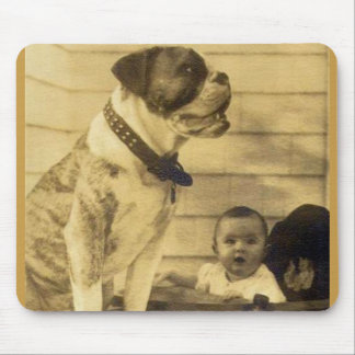 1920s pitbull guards baby mouse pad