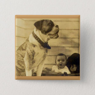 1920s pitbull guards baby pinback button