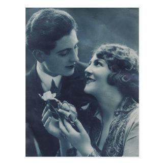 1920s retro couple with rose vintage postcard