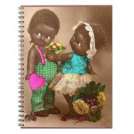1920s RPPC adorable black dolls in love Notebook