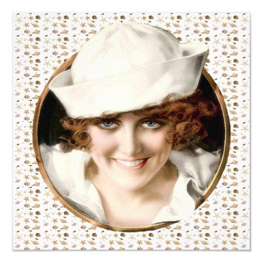 1920s Sailor Girl Beach Party Card