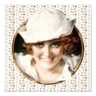 "1920s Sailor Girl Beach Party 5.25"" Square Invitation Card"