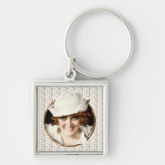 1920s Sailor Girl Silver-Colored Square Keychain