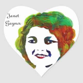 1920s Silent Movie Star Janet Gaynor Heart Sticker