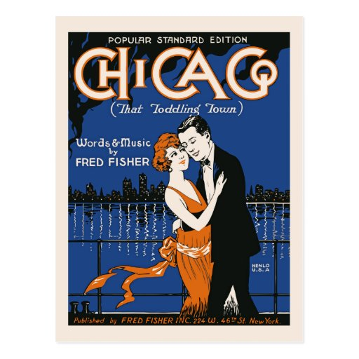 1920s style dancing couple, Chicago music Postcards