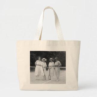 1920s Tennis Fashion Large Tote Bag