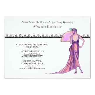 """1920's Theme Hen Party Invitation 5"""" X 7"""" Invitation Card"""
