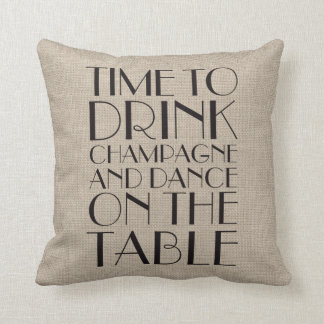 1920's Time to Drink Champagne Burlap Pillow