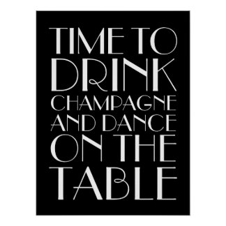 1920's Time to Drink Champagne Poster black