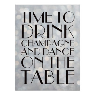 1920's Time to Drink Champagne Poster silver