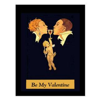 1920's Valentine Kiss Postcard