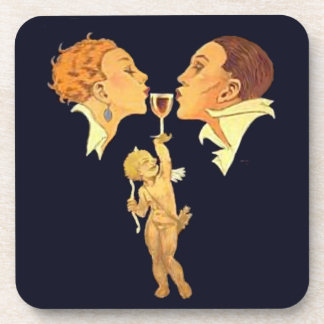 1920's Valentine Kiss retro art Coaster