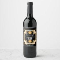 1920s Vintage Art Deco New Year Wine Label