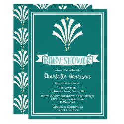 1920s Vintage Art Deco Teal & White Palmetto Crest Invitation
