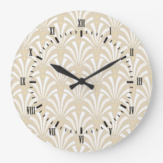 1920s Vintage Art Deco White Fans Pattern Large Clock