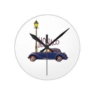 1920's Vintage Automobile - Monaco Round Wall Clock