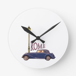 1920's Vintage Automobile - Rome Round Wall Clock
