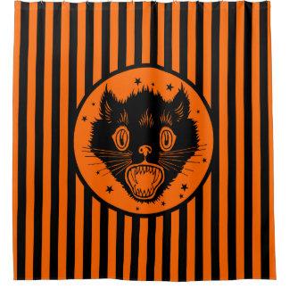 1920s Vintage Black Cat Halloween Shower CurtainBlack Cat Shower Curtains   Zazzle. Orange And Black Shower Curtain. Home Design Ideas