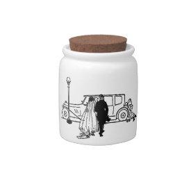 1920's vintage bride and groom candy jar at Zazzle