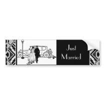 1920's Vintage Bride & Groom Bumper Sticker
