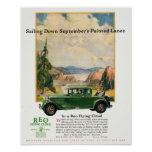 1920s Vintage Green Car REO Flying Cloud Poster