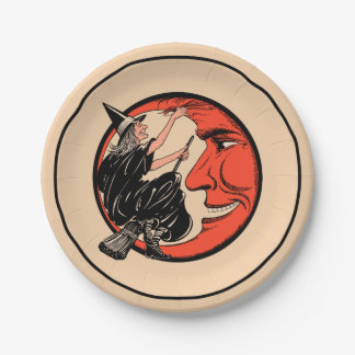 1920s Vintage Halloween Witch Paper Plate