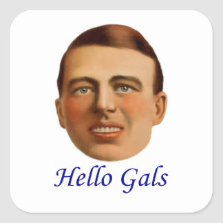 1920's Vintage Illustration - Hello Gals Square Sticker