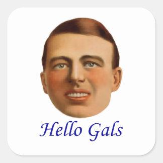 1920's Vintage Illustration - Hello Gals Square Stickers