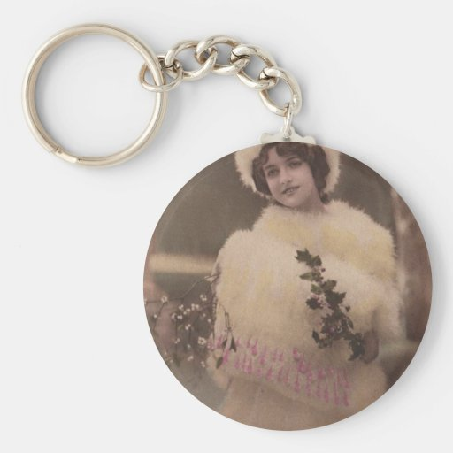 1920s Vintage Model in the Snow Key Chains