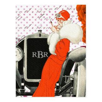 1920's Vintage Parisian Model and Car Image Postcard