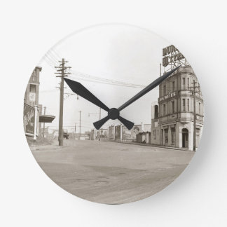 1920's vintage Street Photo Round Wall Clock