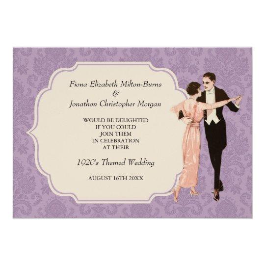1920's Wedding Invitation Vintage Dancing Couple