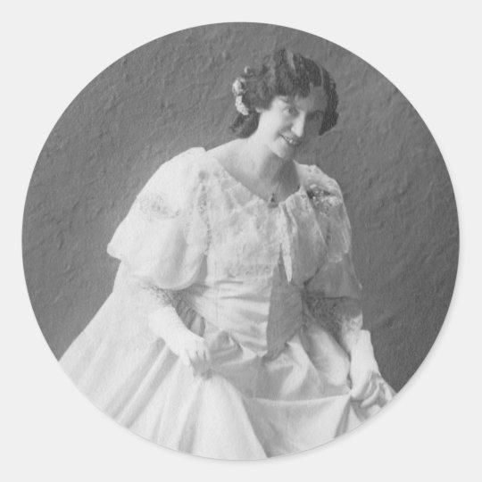 1920's Wedding Photo of Bride Classic Round Sticker