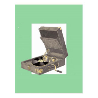 1920s Wind Up Gramaphone Postcard
